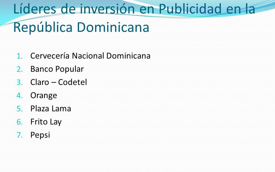 Líderes de inversión en Publicidad en la República Dominicana 1. Cervecería Nacional Dominicana 2. Banco Popular 3. Claro – Codetel 4. Orange 5. Plaza