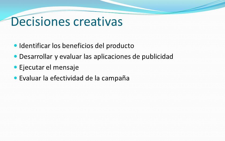 Decisiones creativas Identificar los beneficios del producto Desarrollar y evaluar las aplicaciones de publicidad Ejecutar el mensaje Evaluar la efect