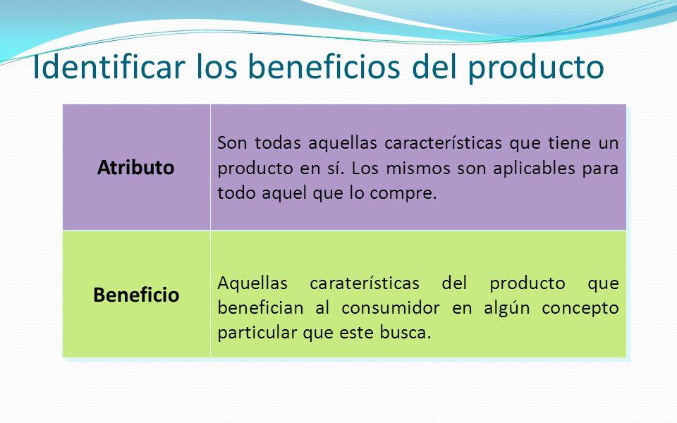 Identificar los beneficios del producto Atributo Beneficio Son todas aquellas características que tiene un producto en sí. Los mismos son aplicables p