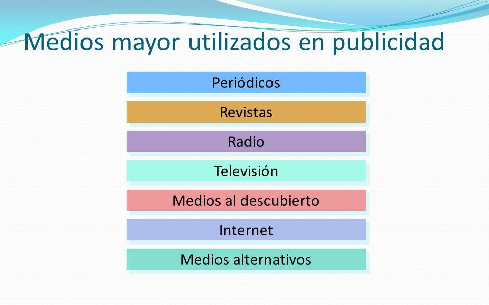 Medios mayor utilizados en publicidad Periódicos Revistas Radio Televisión Medios al descubierto Internet Medios alternativos