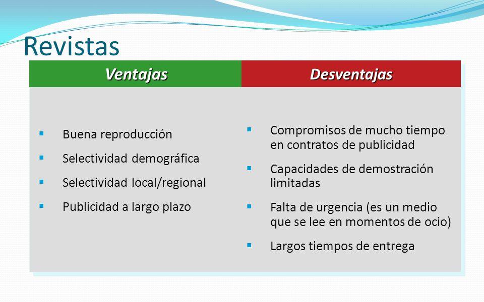 Revistas Buena reproducción Selectividad demográfica Selectividad local/regional Publicidad a largo plazo Compromisos de mucho tiempo en contratos de
