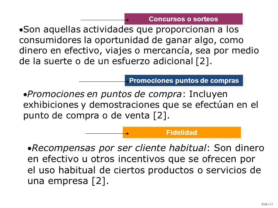 Slide 1-12 Promociones puntos de compras Concursos o sorteos Son aquellas actividades que proporcionan a los consumidores la oportunidad de ganar algo