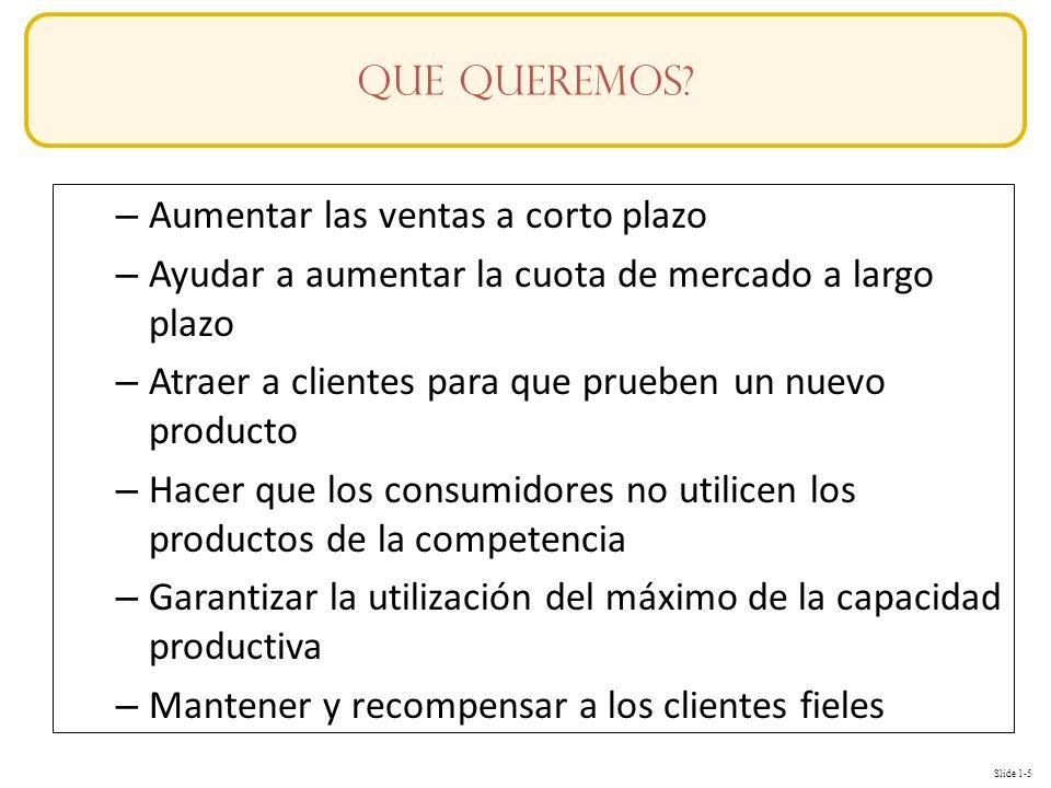 Slide 1-5 – Aumentar las ventas a corto plazo – Ayudar a aumentar la cuota de mercado a largo plazo – Atraer a clientes para que prueben un nuevo prod