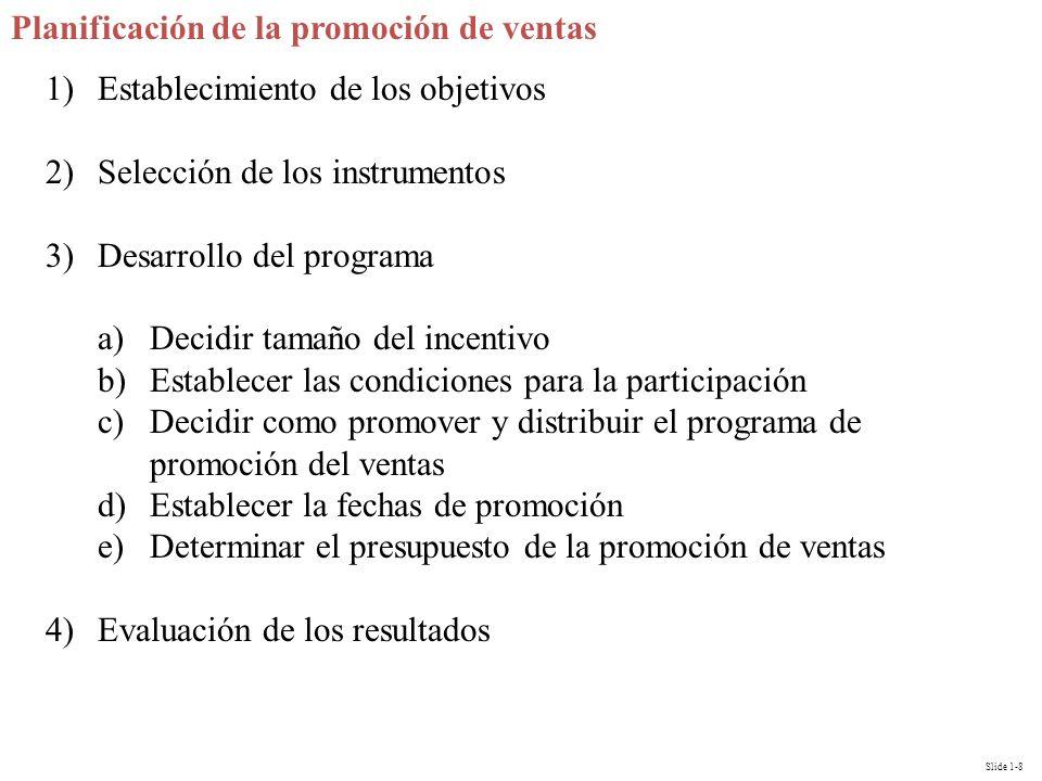Slide 1-8 Planificación de la promoción de ventas 1)Establecimiento de los objetivos 2)Selección de los instrumentos 3)Desarrollo del programa a)Decid