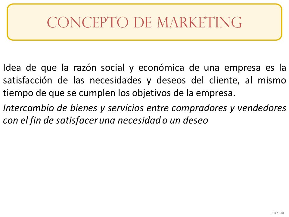 Slide 1-18 Idea de que la razón social y económica de una empresa es la satisfacción de las necesidades y deseos del cliente, al mismo tiempo de que s