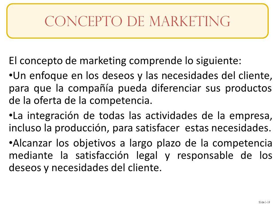 Slide 1-19 El concepto de marketing comprende lo siguiente: Un enfoque en los deseos y las necesidades del cliente, para que la compañía pueda diferen