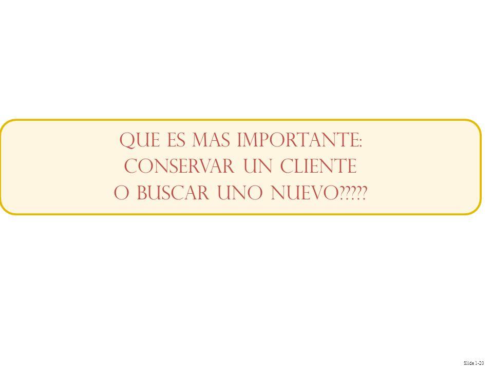Slide 1-20 QUE ES MAS IMPORTANTE: CONSERVAR UN CLIENTE O BUSCAR UNO NUEVO?????