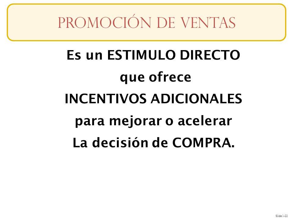 Slide 1-22 Es un ESTIMULO DIRECTO que ofrece INCENTIVOS ADICIONALES para mejorar o acelerar La decisión de COMPRA. Promoción de ventas