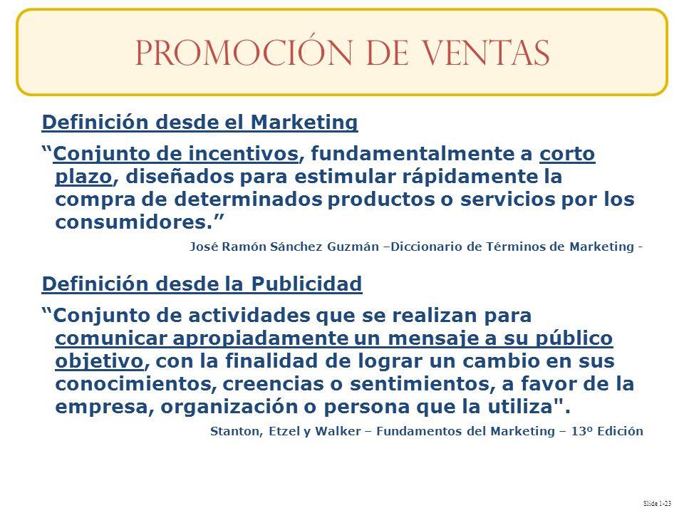 Slide 1-23 Definición desde el Marketing Conjunto de incentivos, fundamentalmente a corto plazo, diseñados para estimular rápidamente la compra de det