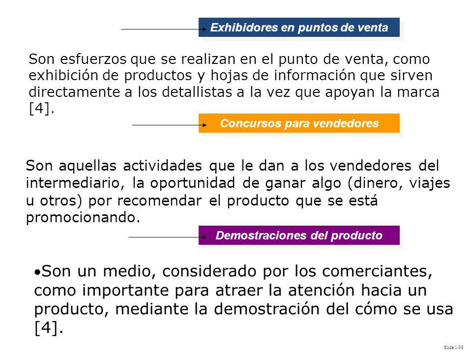 Slide 1-38 Son aquellas actividades que le dan a los vendedores del intermediario, la oportunidad de ganar algo (dinero, viajes u otros) por recomenda