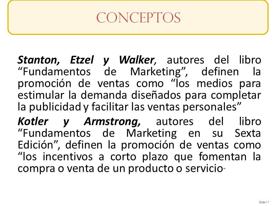 Slide 1-7 Stanton, Etzel y Walker, autores del libro Fundamentos de Marketing, definen la promoción de ventas como los medios para estimular la demand