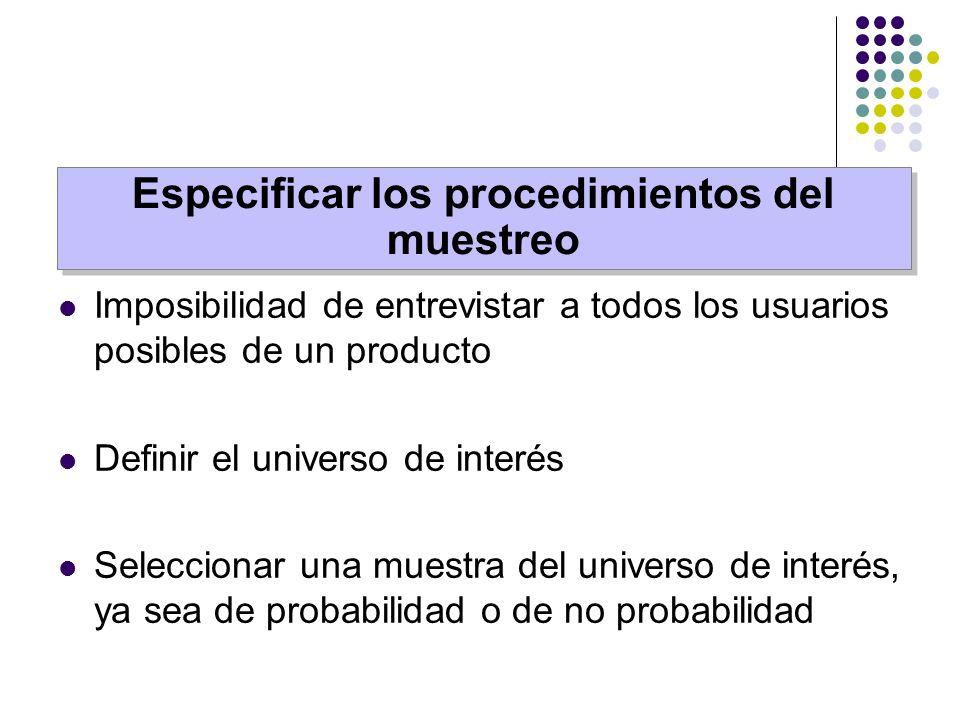 Imposibilidad de entrevistar a todos los usuarios posibles de un producto Definir el universo de interés Seleccionar una muestra del universo de inter