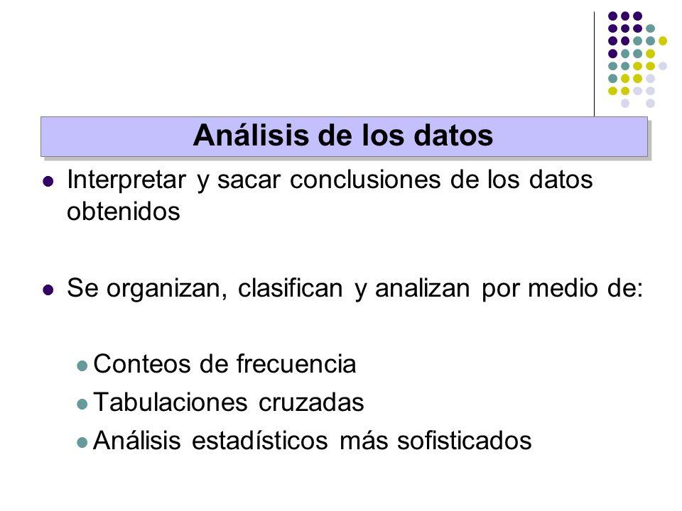 Interpretar y sacar conclusiones de los datos obtenidos Se organizan, clasifican y analizan por medio de: Conteos de frecuencia Tabulaciones cruzadas