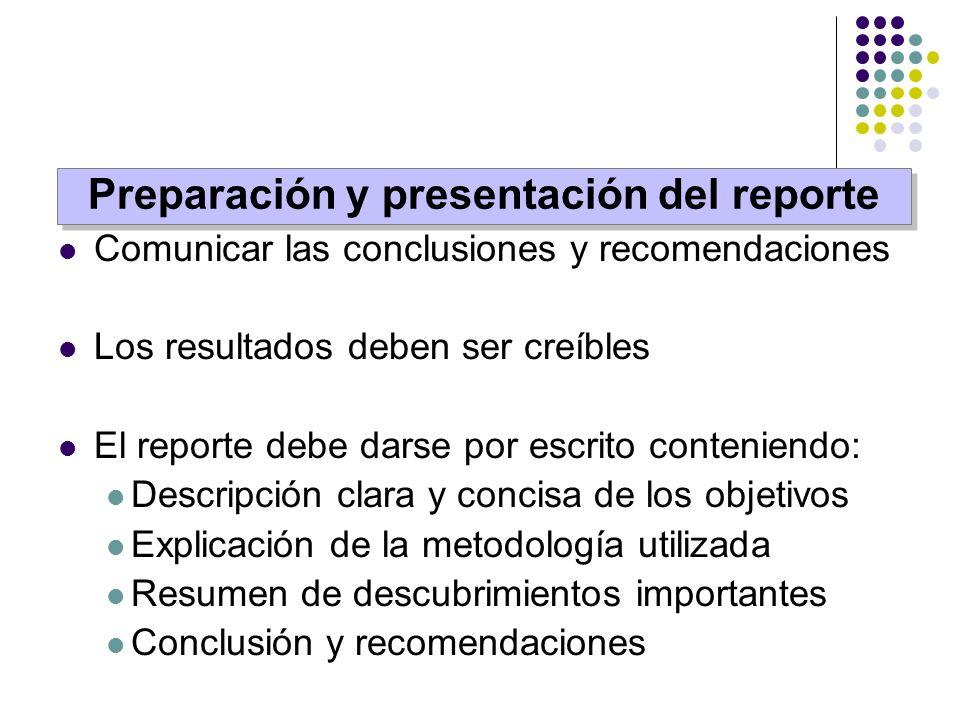 Comunicar las conclusiones y recomendaciones Los resultados deben ser creíbles El reporte debe darse por escrito conteniendo: Descripción clara y conc