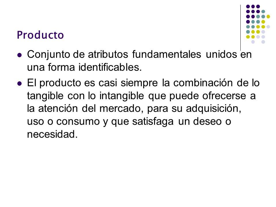 Producto Conjunto de atributos fundamentales unidos en una forma identificables. El producto es casi siempre la combinación de lo tangible con lo inta