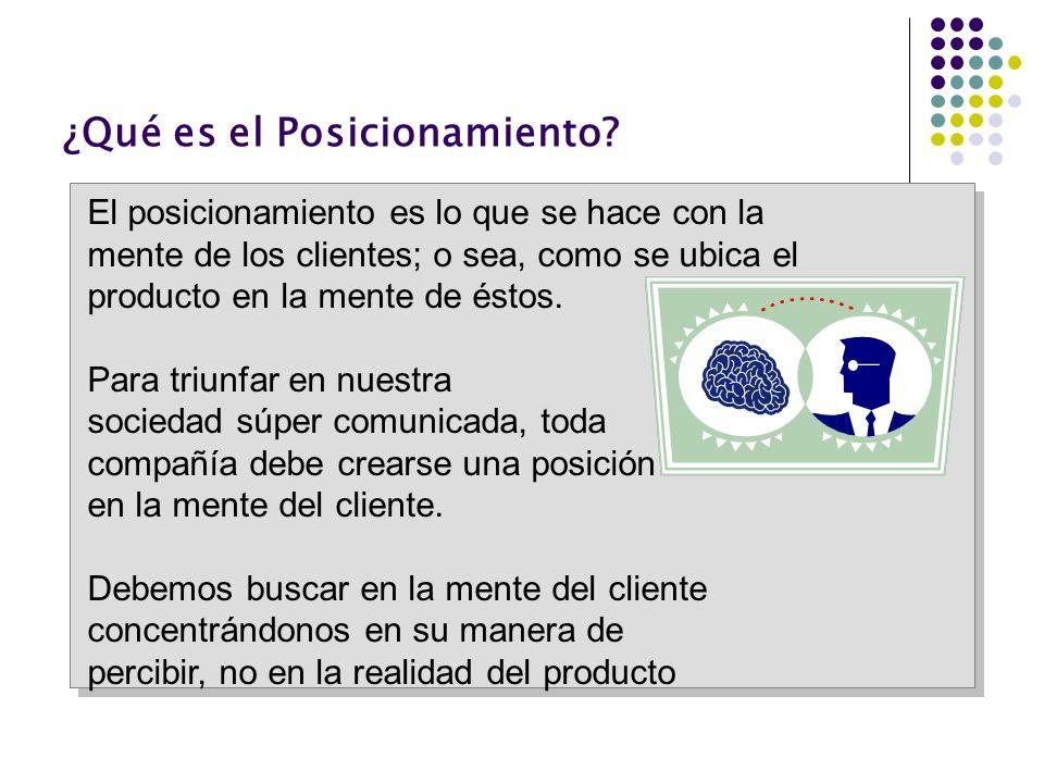 ¿Qué es el Posicionamiento? El posicionamiento es lo que se hace con la mente de los clientes; o sea, como se ubica el producto en la mente de éstos.