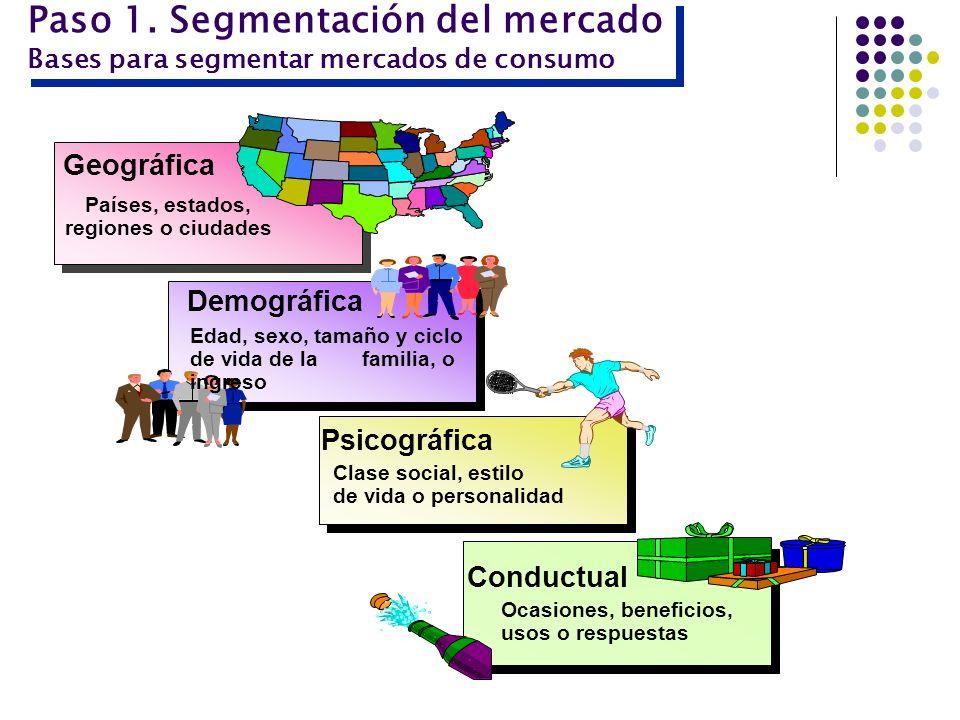 Paso 1. Segmentación del mercado Bases para segmentar mercados de consumo Geográfica Demográfica Edad, sexo, tamaño y ciclo de vida de la familia, o i