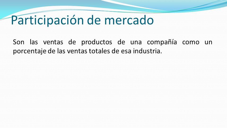 Participación de mercado Son las ventas de productos de una compañía como un porcentaje de las ventas totales de esa industria.
