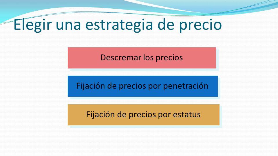 Elegir una estrategia de precio Fijación de precios por estatus Descremar los precios Fijación de precios por penetración