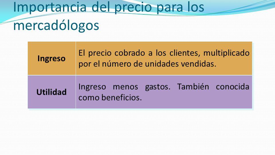 Importancia del Precio Ingreso = Precio Unitario X Número de unidades vendidas Los ingresos pagan por todas las actividades.