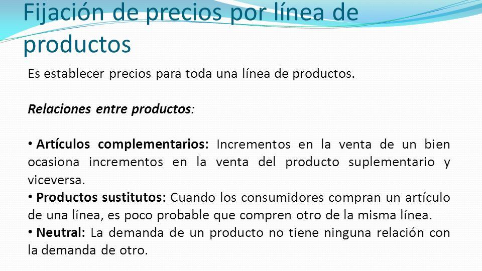 Fijación de precios por línea de productos Es establecer precios para toda una línea de productos. Relaciones entre productos: Artículos complementari