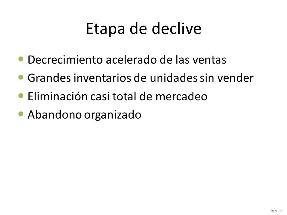 Slide 1-7 Etapa de declive Decrecimiento acelerado de las ventas Grandes inventarios de unidades sin vender Eliminación casi total de mercadeo Abandon