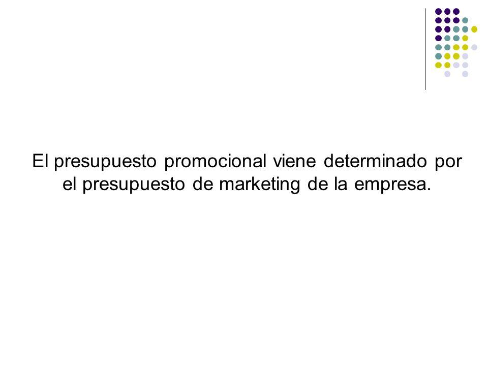 El presupuesto promocional viene determinado por el presupuesto de marketing de la empresa.