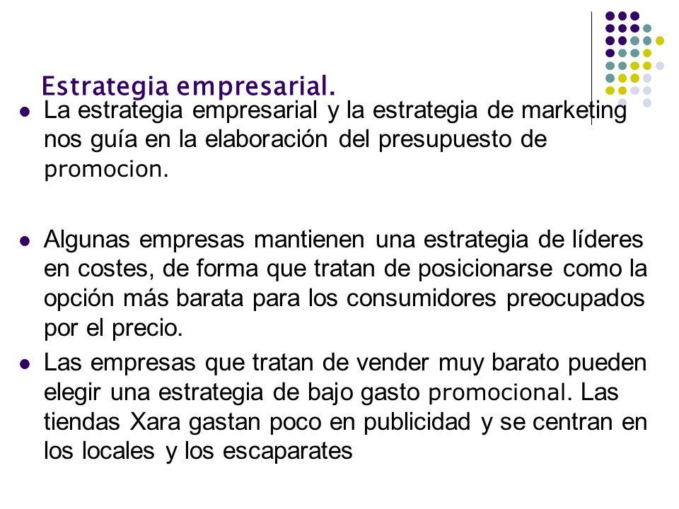 Estrategia empresarial. La estrategia empresarial y la estrategia de marketing nos guía en la elaboración del presupuesto de promocion. Algunas empres