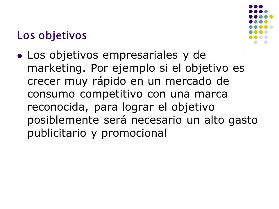 Los objetivos Los objetivos empresariales y de marketing. Por ejemplo si el objetivo es crecer muy rápido en un mercado de consumo competitivo con una