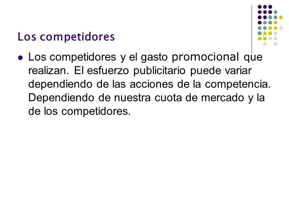 Los competidores Los competidores y el gasto promocional que realizan. El esfuerzo publicitario puede variar dependiendo de las acciones de la compete