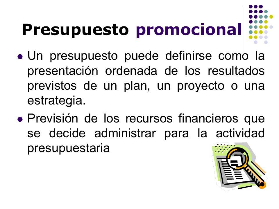 Presupuesto promocional Un presupuesto puede definirse como la presentación ordenada de los resultados previstos de un plan, un proyecto o una estrate