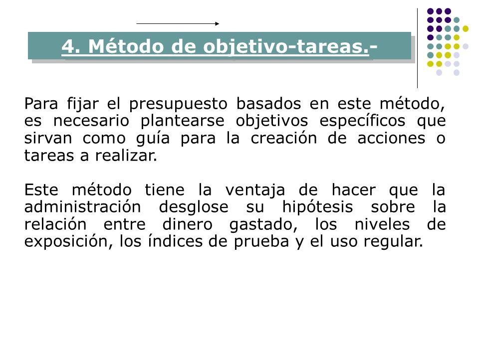 4. Método de objetivo-tareas.- Para fijar el presupuesto basados en este método, es necesario plantearse objetivos específicos que sirvan como guía pa
