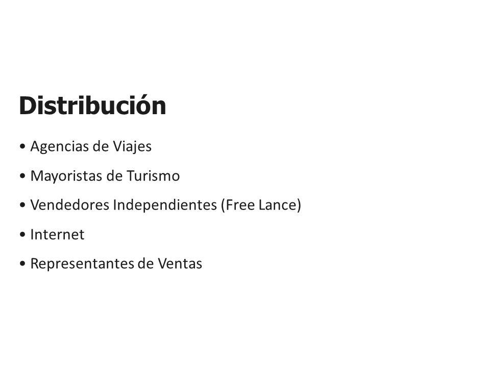 Distribución Agencias de Viajes Mayoristas de Turismo Vendedores Independientes (Free Lance) Internet Representantes de Ventas