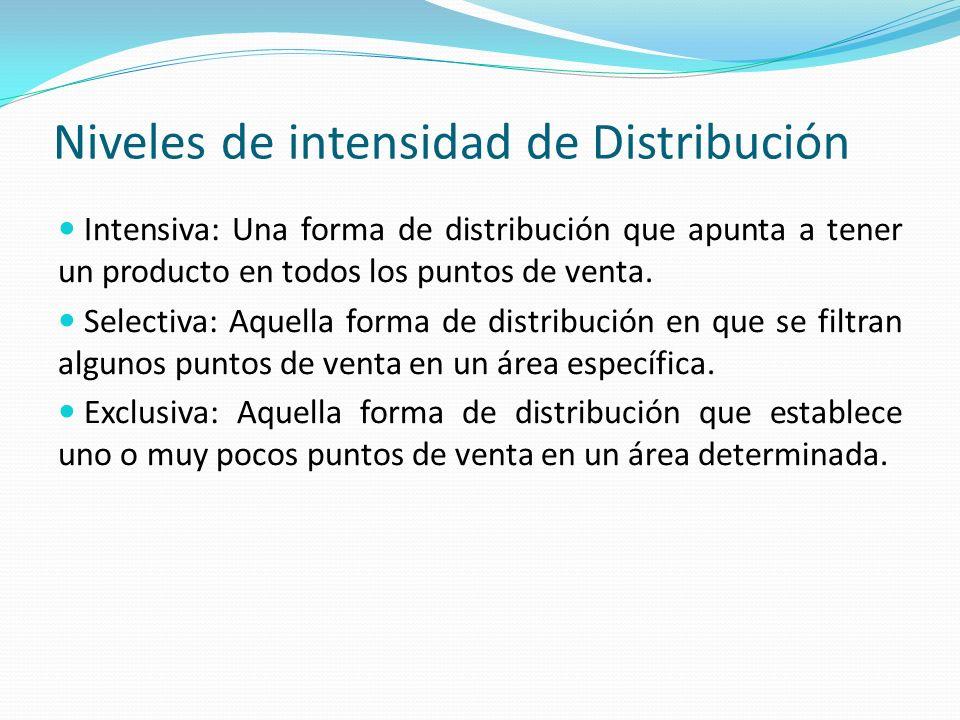 Niveles de intensidad de Distribución Intensiva: Una forma de distribución que apunta a tener un producto en todos los puntos de venta. Selectiva: Aqu