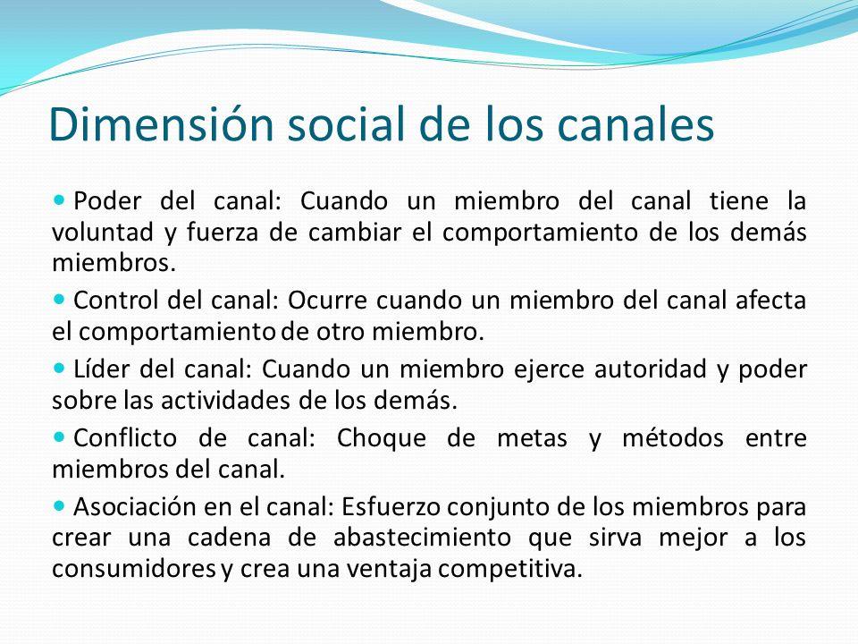 Dimensión social de los canales Poder del canal: Cuando un miembro del canal tiene la voluntad y fuerza de cambiar el comportamiento de los demás miem