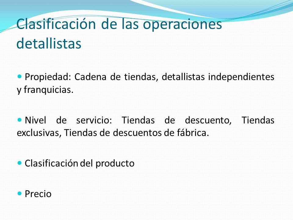 Clasificación de las operaciones detallistas Propiedad: Cadena de tiendas, detallistas independientes y franquicias. Nivel de servicio: Tiendas de des