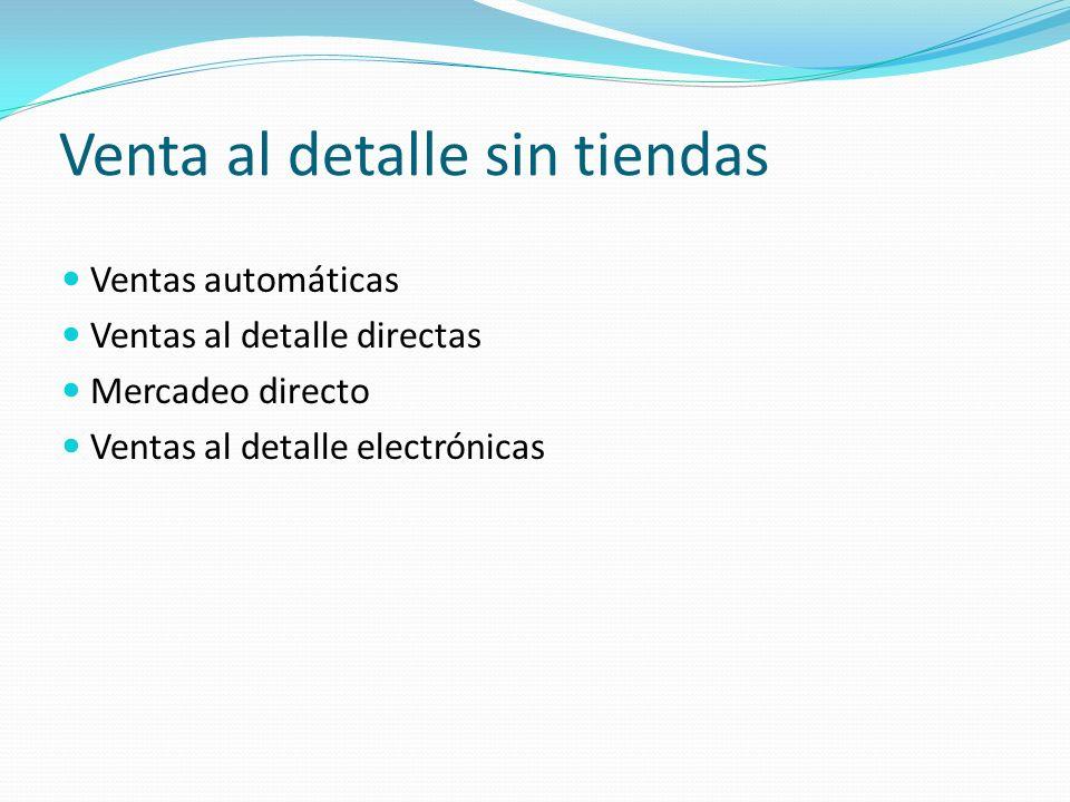 Venta al detalle sin tiendas Ventas automáticas Ventas al detalle directas Mercadeo directo Ventas al detalle electrónicas