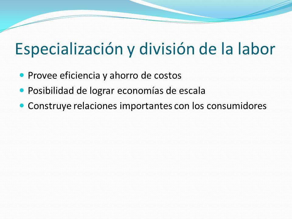 Especialización y división de la labor Provee eficiencia y ahorro de costos Posibilidad de lograr economías de escala Construye relaciones importantes