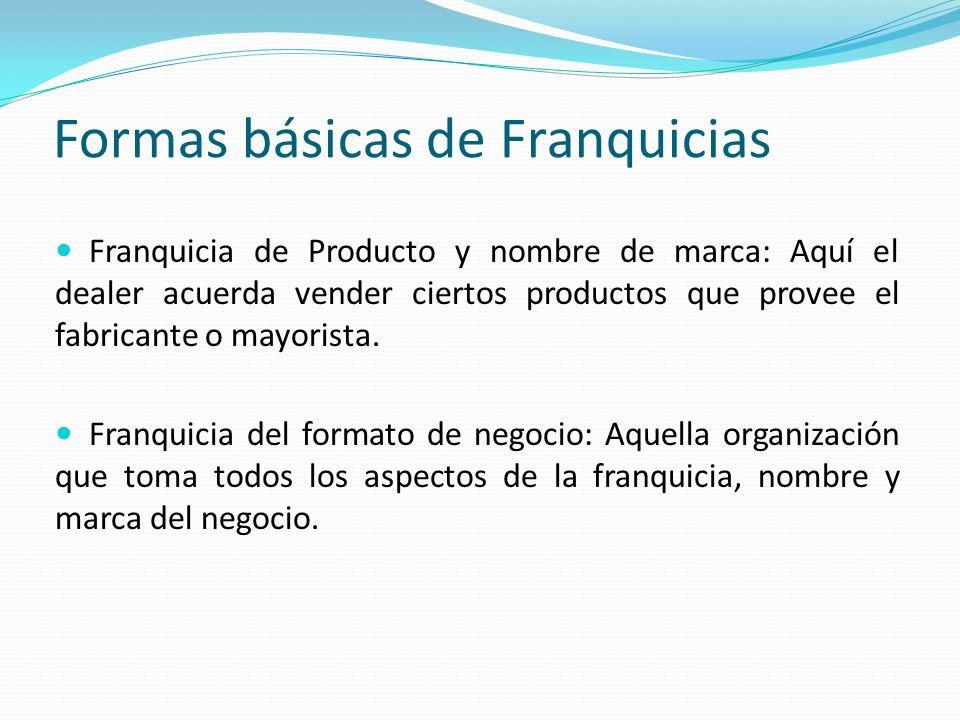 Formas básicas de Franquicias Franquicia de Producto y nombre de marca: Aquí el dealer acuerda vender ciertos productos que provee el fabricante o may