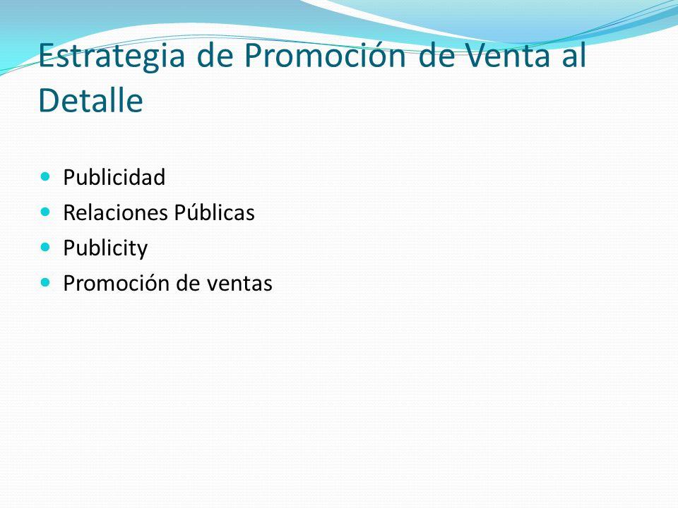 Estrategia de Promoción de Venta al Detalle Publicidad Relaciones Públicas Publicity Promoción de ventas