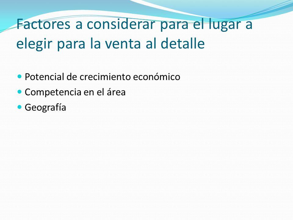 Factores a considerar para el lugar a elegir para la venta al detalle Potencial de crecimiento económico Competencia en el área Geografía