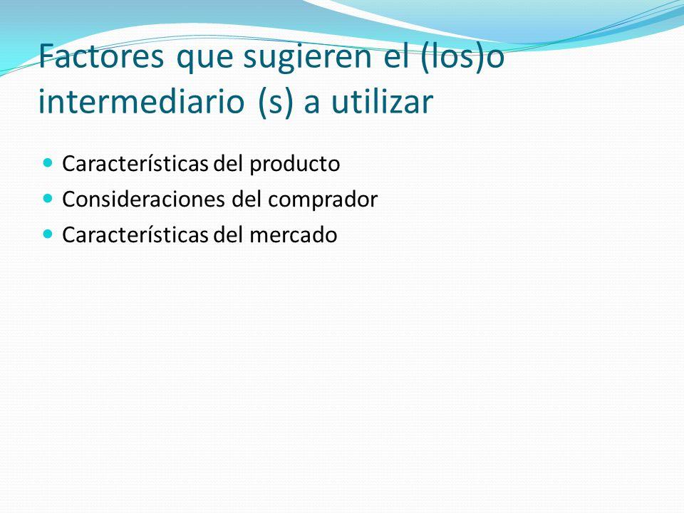 Factores que sugieren el (los)o intermediario (s) a utilizar Características del producto Consideraciones del comprador Características del mercado
