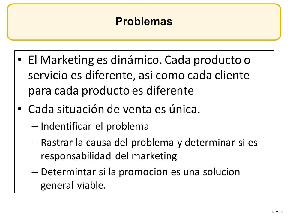 Slide 1-3 OBJETIVOS El Marketing es dinámico.