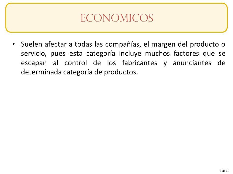 Slide 1-5 Conceptos Suelen afectar a todas las compañías, el margen del producto o servicio, pues esta categoría incluye muchos factores que se escapan al control de los fabricantes y anunciantes de determinada categoría de productos.