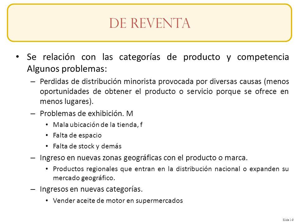 Slide 1-9 Conceptos Se relación con las categorías de producto y competencia Algunos problemas: – Perdidas de distribución minorista provocada por diversas causas (menos oportunidades de obtener el producto o servicio porque se ofrece en menos lugares).