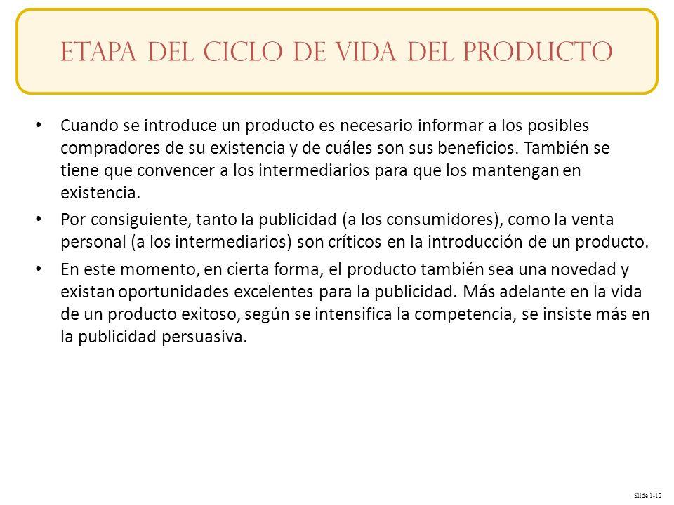 Slide 1-12 Conceptos Cuando se introduce un producto es necesario informar a los posibles compradores de su existencia y de cuáles son sus beneficios.