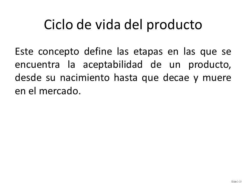 Slide 1-13 Ciclo de vida del producto Este concepto define las etapas en las que se encuentra la aceptabilidad de un producto, desde su nacimiento has