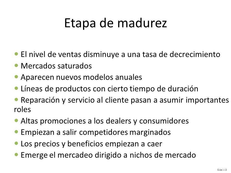 Slide 1-18 Etapa de madurez El nivel de ventas disminuye a una tasa de decrecimiento Mercados saturados Aparecen nuevos modelos anuales Líneas de prod