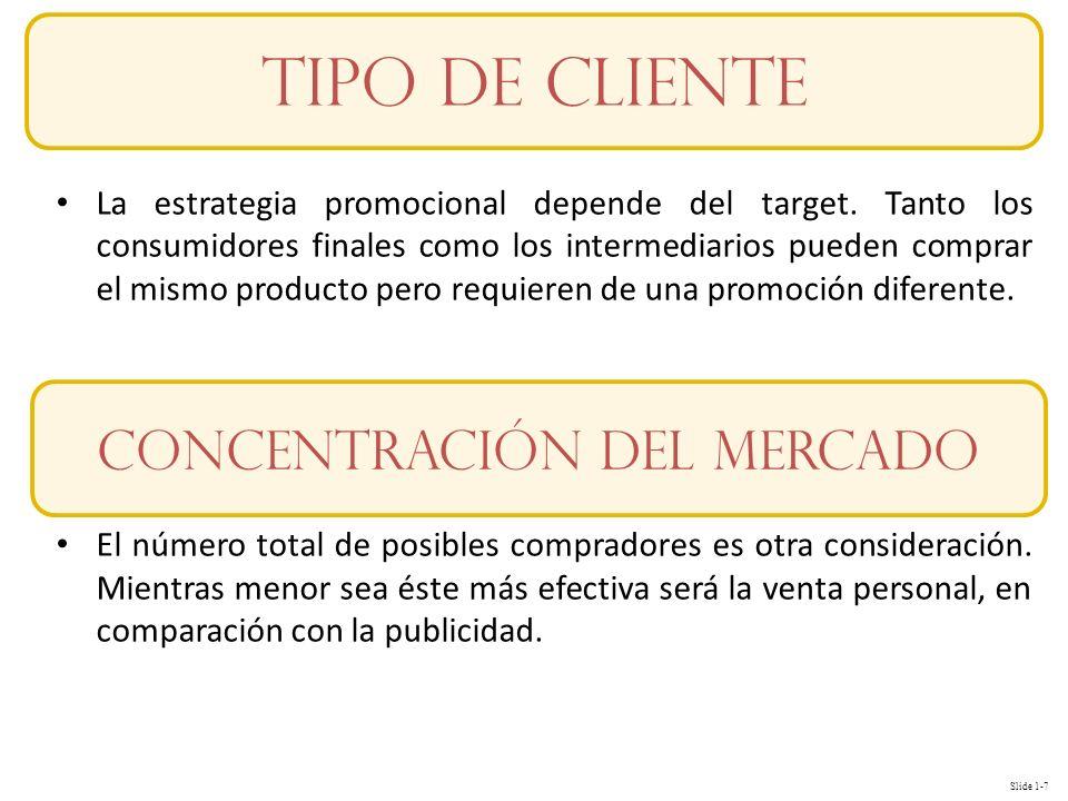 Slide 1-8 Conceptos Varios atributos del producto influyen sobre la estrategia promocional.