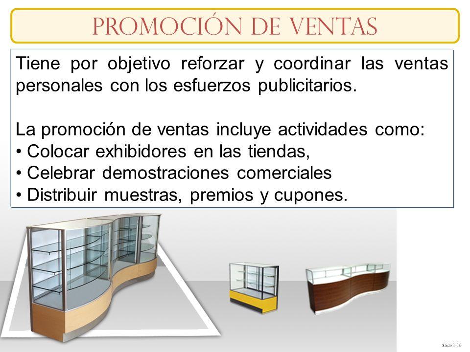 Slide 1-10 Tiene por objetivo reforzar y coordinar las ventas personales con los esfuerzos publicitarios. La promoción de ventas incluye actividades c